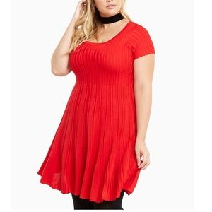 Torrid Red Short Sleeve Ribbed Knit Sweater Dress